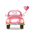 pink colorful retro couple car with heart balloon vector image vector image