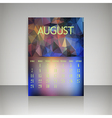Polygonal 2016 calendar design for AUGUST vector image vector image