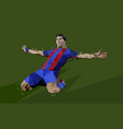 polygonal of soccer player celebrating of the goal vector image vector image