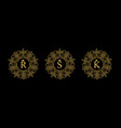 round emblem with gold letters r s k vector image
