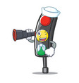 sailor with binocular traffic light character vector image vector image