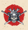 samurai skull and swords retro vector image vector image