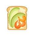 sandwich with slices avocado and boiled shrimps vector image vector image