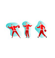 santa claus in red costume happy dancing vector image vector image
