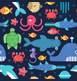 seamless pattern of sea underwater life vector image vector image