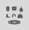 Set icons Boxing kick boxing Boxing equipment vector image