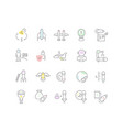set line icons space business vector image