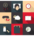 Set of colored icons on a theme of sleep in a flat vector image vector image