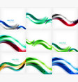 set of wave blurred colorful stripe backgrounds vector image