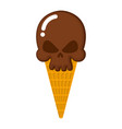 skull ice cream skeleton head sweetness dangerous vector image vector image