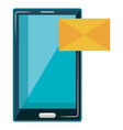 smartphone device with envelope mail vector image vector image