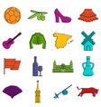 spain travel icons doodle set vector image vector image