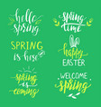spring lettering phrases set vector image