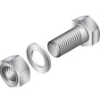 Stainless steel screw and nut vector image vector image