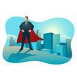 superhero businessman standing on rooftop of vector image vector image