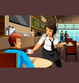 waitress in a restaurant serving customers vector image