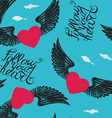 winged hearts vector image vector image