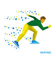 winter sports - skating skater running on white vector image vector image