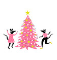 with pink christmas pine tree and dancing rats vector image