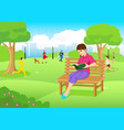 woman reading a book at city park vector image vector image
