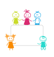 Celebration Card with Funny Girls and Boys vector image