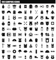 100 camping icon set simple style vector image