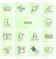 14 space icons vector image vector image