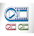 3d glossy video play icon vector image vector image