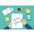 action plan list concept hands vector image vector image
