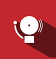 alarm icon with shade on a red background vector image
