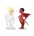 Angel and devil isolated Cartoon symbolic good bad vector image vector image