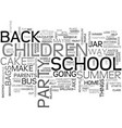 back to school party text word cloud concept vector image vector image