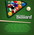 billiards 3d poster with green table ball and cue vector image