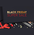 black friday super sale black gift box vector image