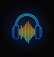 blue headphones with sound wave outline vector image vector image