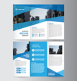 Blue Trifold annual report Leaflet Brochure Flyer vector image vector image
