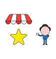 businessman character with star under shop store vector image