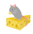 cartoon cute gray mouse on yellow cheese piece vector image