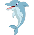 Cartoon funny dolphin jumping vector image vector image