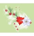 Christmas Branch with Snowflakes and Poinsettia vector image