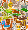 collection Funny cartoon Animals seamless pattern vector image vector image