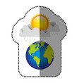 color earth planet with cloud rainning and sun vector image vector image