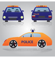 color police car from front back and side view vector image