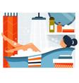 daily life life woman taking a bath vector image
