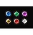 Dazzling diamond different color and shape on a vector image vector image