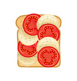 delicious sandwich with slices of fresh red vector image