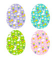 easter eggs with bunny patterns vector image