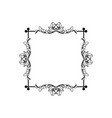 floral vintage square frame isolated on vector image vector image