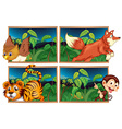 Four forest scenes with wild animals vector image vector image