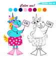 funny cartoon coloring book unicorn with mask and vector image vector image